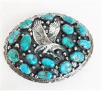 STERLING SILVER .925 TURQUOISE EAGLE BELT BUCKLE 40G